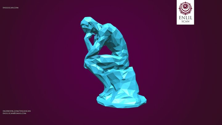 Polygonal Thinker Statue - LowPoly 3D Model