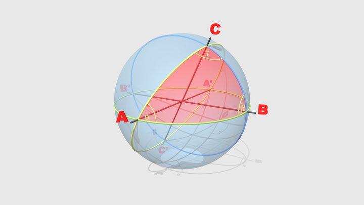 Projektion einer Fläche auf der Kugeloberfläche 3D Model
