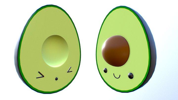 Avocado Couple Toon 3D Model