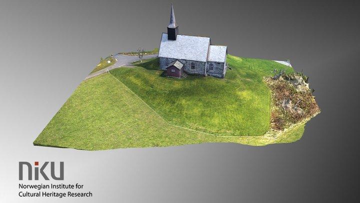 Edøy gamle kirke, med landskap 3D Model