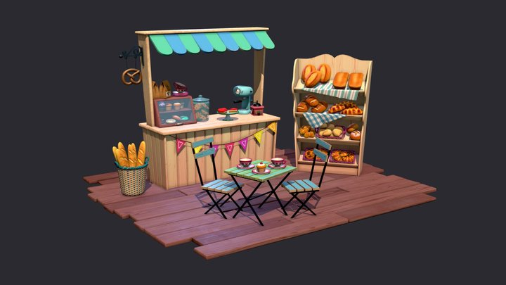 Bakery Stall 3D Model