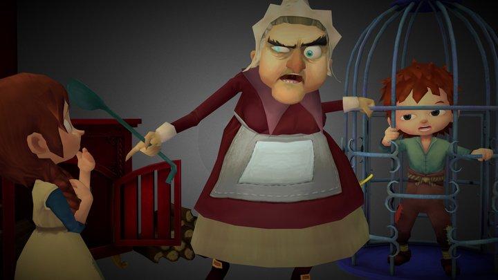 Hansel Gretel Scene 3D Model
