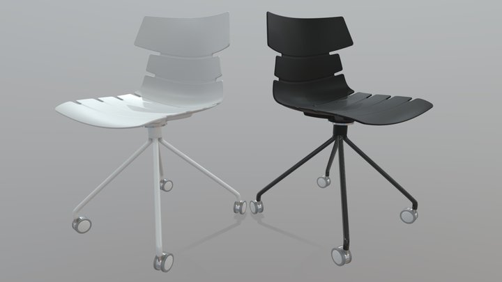 Wave Castors Chair 3D Model