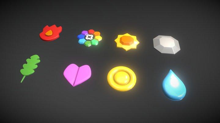 Kanto Badges, Pokemon 3D Model