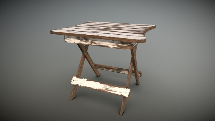 Wooden Table Painted 3D Model