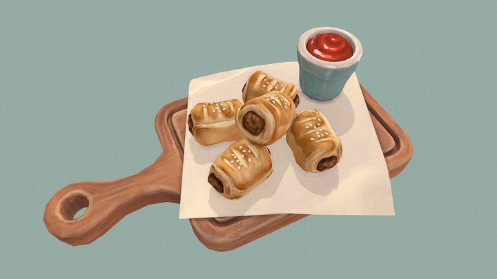 Sausage Rolls with Ketchup 3D Model