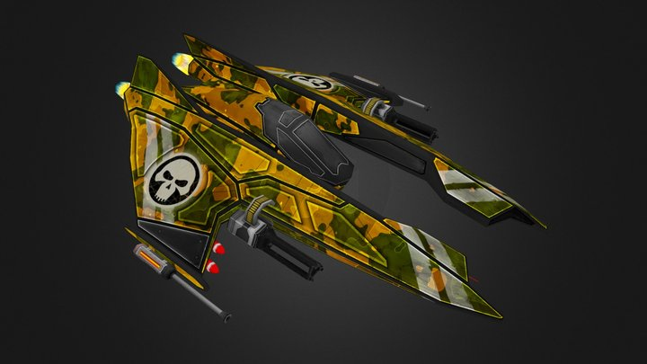 SciFi - Winged Fighter - Space Pirate Ship 3D Model