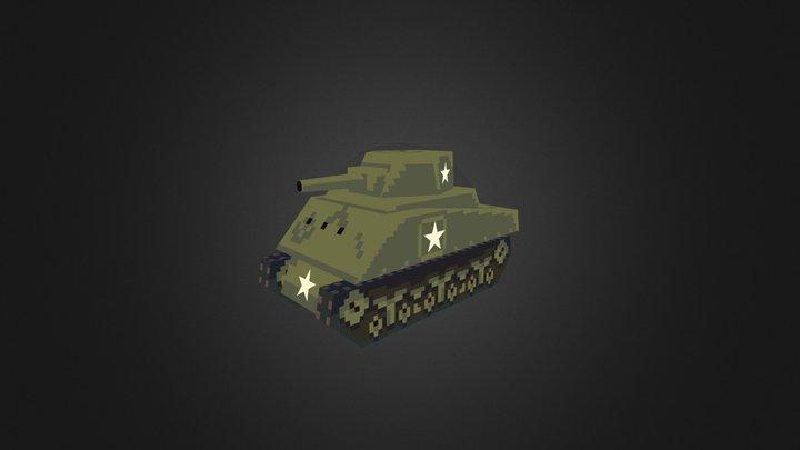 Low Poly M4 Sherman Tank 3D Model