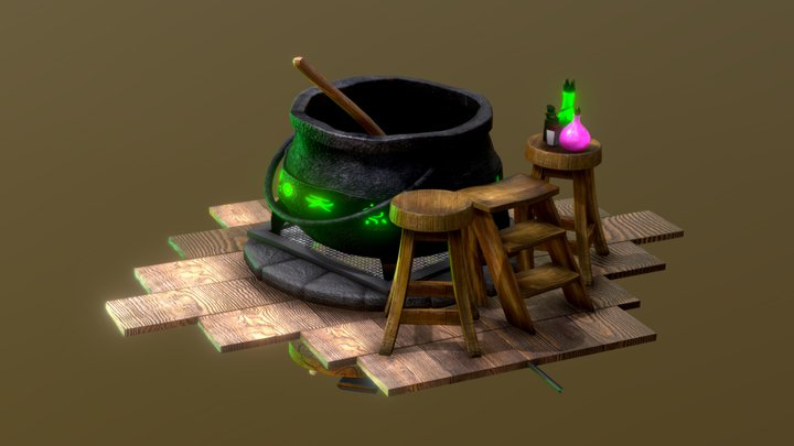 Flipping Cauldron Animation 3D Model