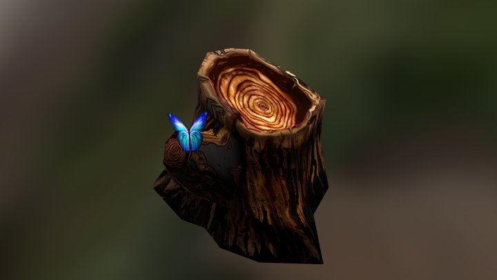 Tree Stump With Butterfly 3D Model