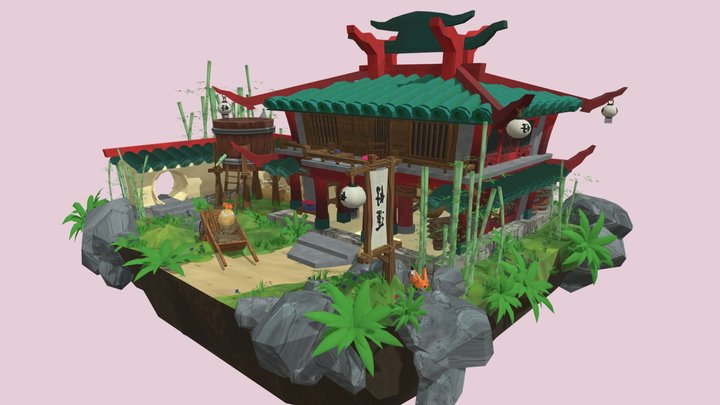 Old Chinese Rice Wine Brewery 3D Model