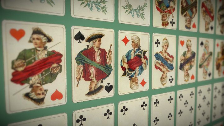 """Playing cards Dondorf: """"Baronesse"""" Whist No.160 3D Model"""