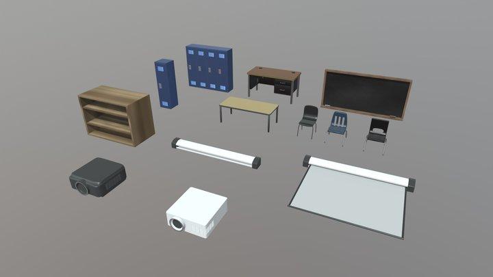 School Classroom Asset Pack 3D Model