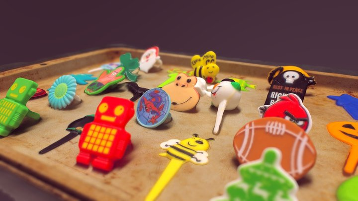 An Assortment of Cupcake Toppers 3D Model
