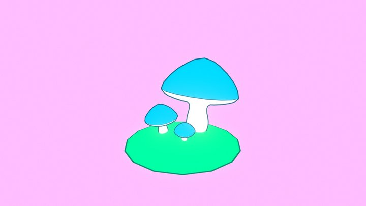 Toon Mushrooms 3D Model