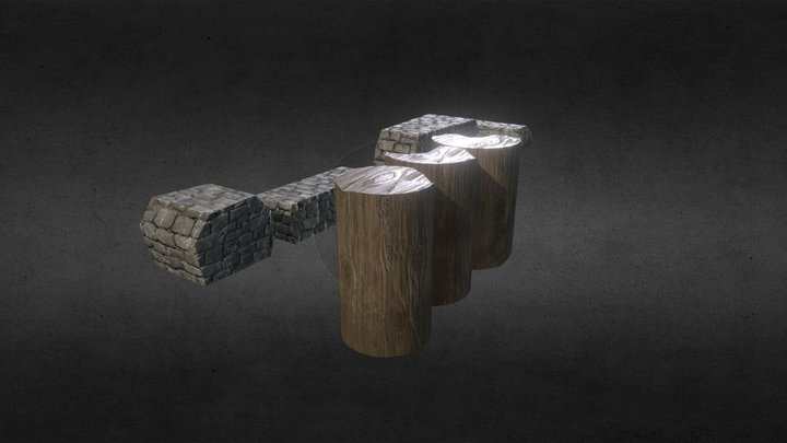 Fantasy World Props (Rocks + Logs) 3D Model