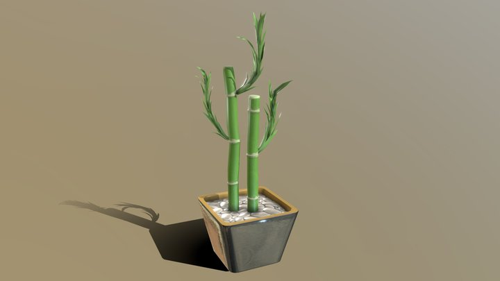 Stylized Bamboo Potted Plant 3D Model