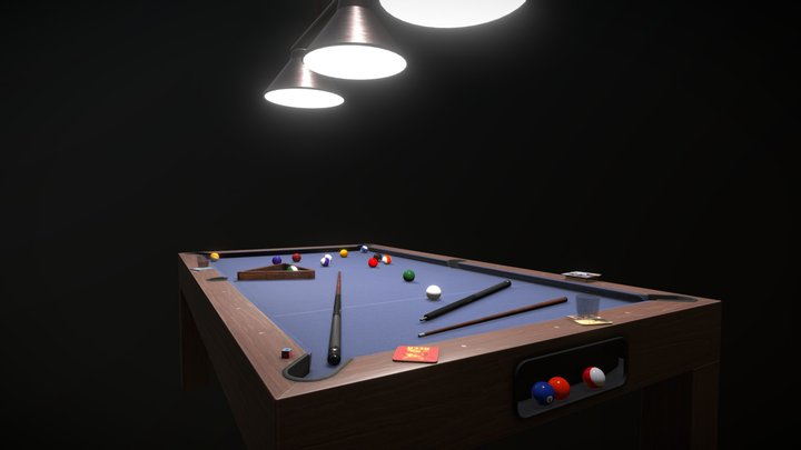 Pool Table Set. 3D Model