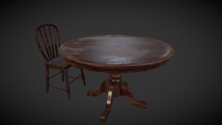Saloon - Table and Chair 3D Model