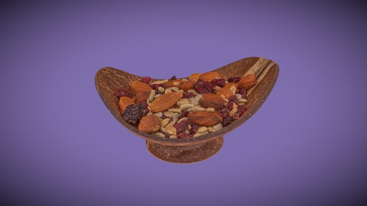 Cranberry Trail Mix in Coconut Wood Bowl 3D Model