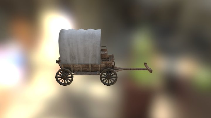 Wooden Covered Wagon 3D Model