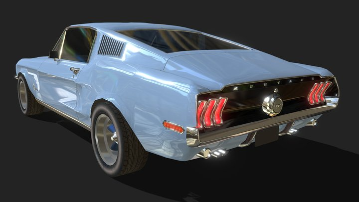Ford Mustang 1968 - Low Poly 3D Model