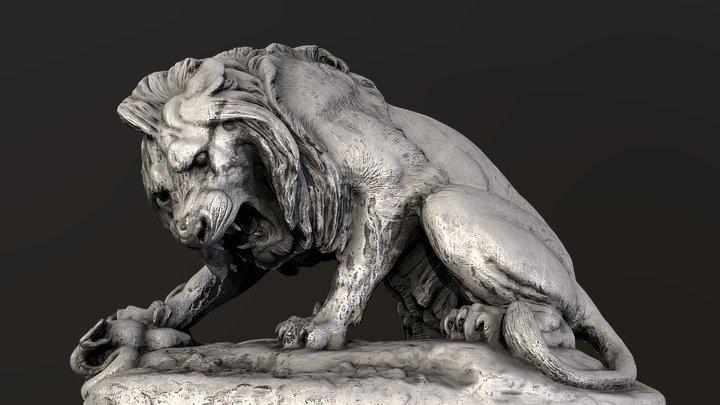 Lion Crushing a Serpent 3D Model