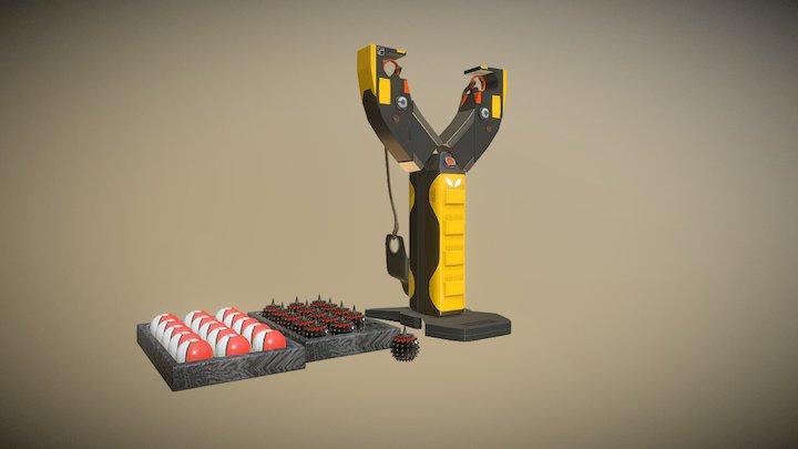Slingshot and ammunition 3D Model