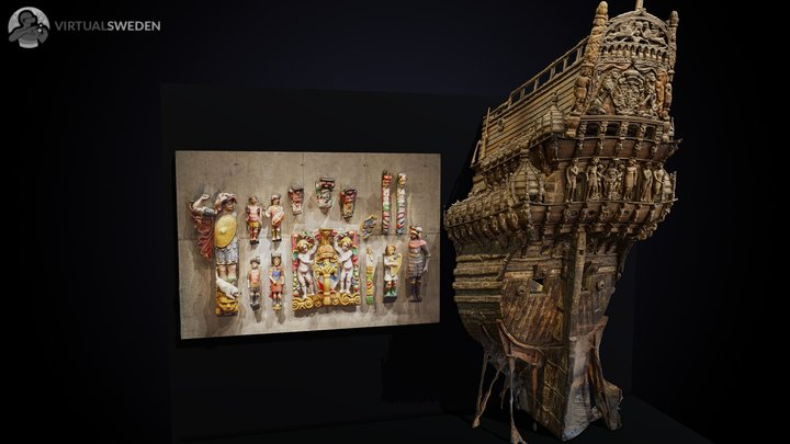 Sculptures of the Vasa warship 3D Model