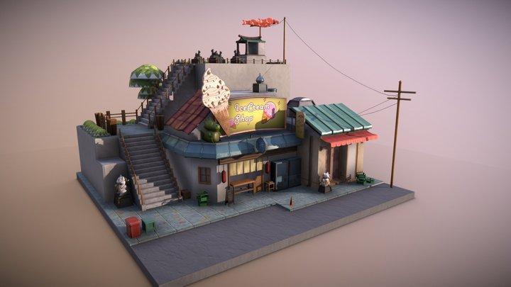 Diorama barrio japones. 3D Model