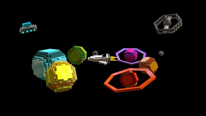 In the Space (Voxel art) 3D Model
