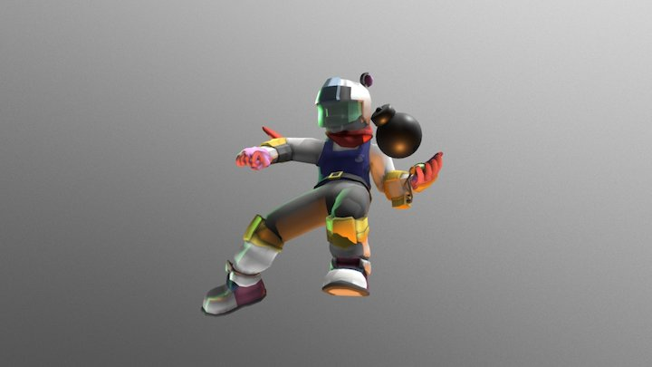 Bomberman Reimagined: Officer Shiro 3D Model