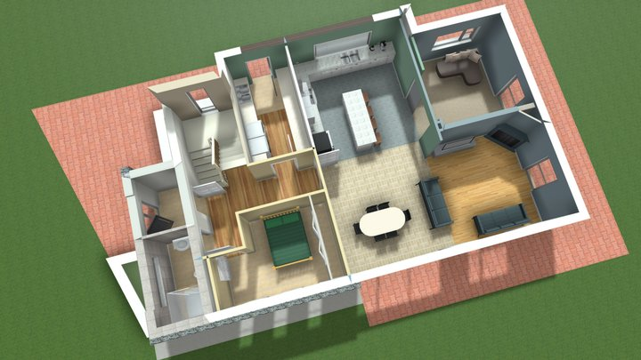 A. O'Donaghue - House Grd floor plan 3D Model
