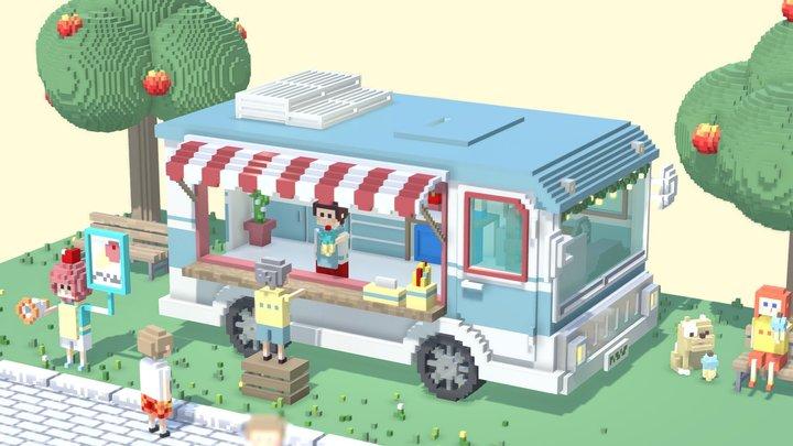 voxel Icecream truck park 3D Model