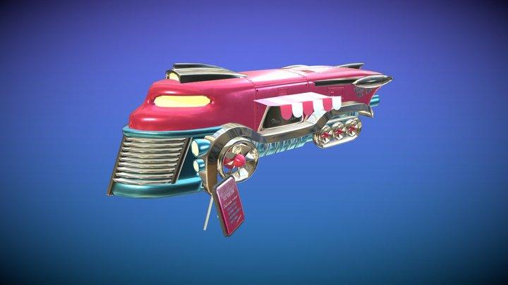 Retrofuturistic Ice Cream Truck - Game Asset 3D Model