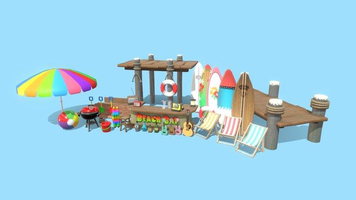 Stylized Beach Asset Pack 3D Model