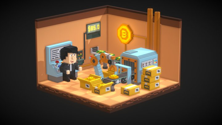Bitcoin Factory - Voxel art 3D Model