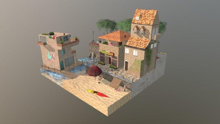 Amalfi Coast cityscene low poly - Italy 3D Model