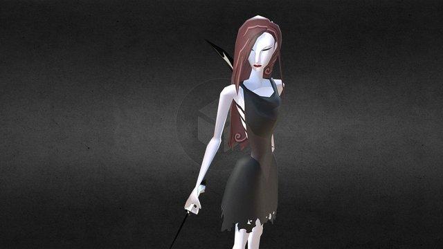Cartoony Escaping Maid_Idel Loop 3D Model
