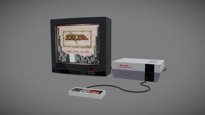Old TV and NES (Zelda 30th Anniversary Tribute) 3D Model