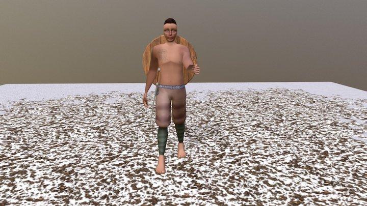Viking Character Walk Cycle 3D Model