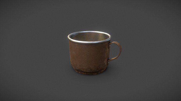 Metal Cup (WW2 Style cup, vintage) 3D Model