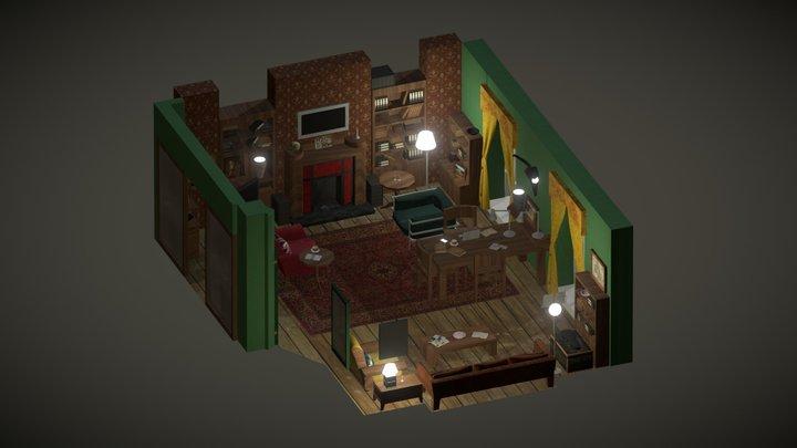 Isometric Room - 221B Baker Street 3D Model