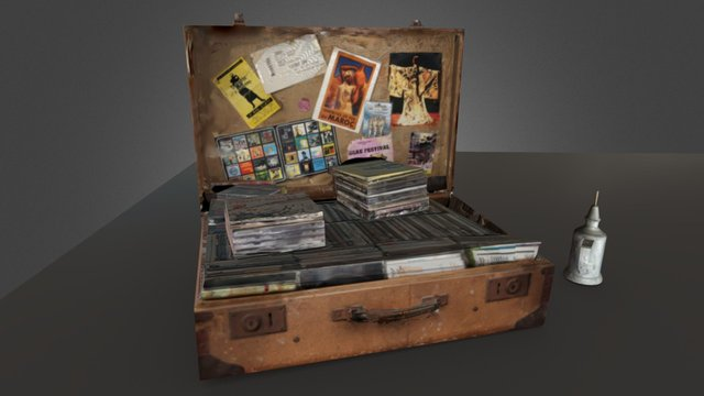 Suitcase, CDs and lamp 3D Model