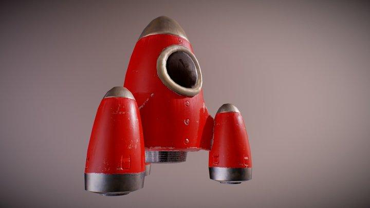 Retrofuturistic toy rocket 3D Model