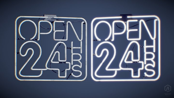 Game Ready Japanese Sign Neon 24H 3D Model