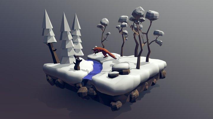 Fox Jumping on the Snow Scenario 3D Model