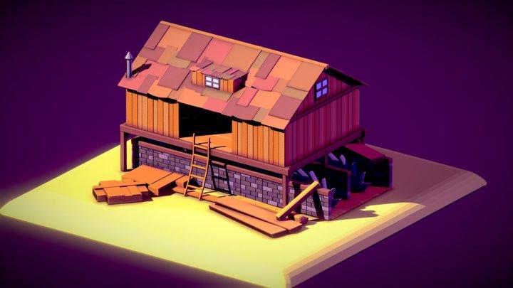 Sawmill LowPoly 3D Model