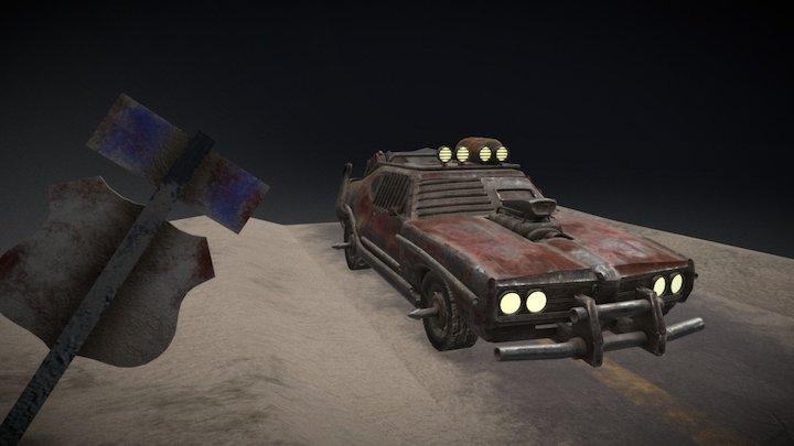 Mad Max Car and Road Version 2 3D Model