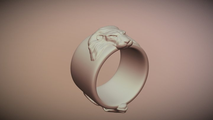 Lion Aries Ring 3D Model